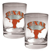 Texas Longhorns 2pc Rocks Glass Set