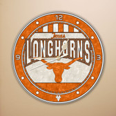 "Texas Longhorns 12"" Art Glass Clock"