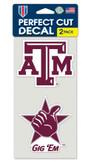 Texas A&M Aggies Set of 2 Die Cut Decals