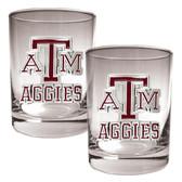 Texas A&M Aggies 2pc Rocks Glass Set