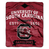 "South Carolina Gamecocks 50""x60"" Royal Plush Raschel Throw Blanket -  Label Design"