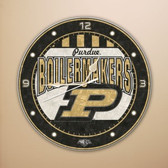 "Purdue Boilermakers 12"" Art Glass Clock"
