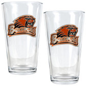 Oregon State Beavers 2pc Pint Ale Glass Set