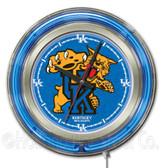 Kentucky Wildcats Cat Logo Neon Clock