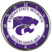 Kansas State Wildcats Round Chrome Wall Clock