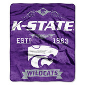 "Kansas State Wildcats 50""x60"" Royal Plush Raschel Throw Blanket -  Label Design"