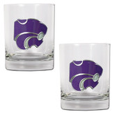 Kansas State Wildcats 2pc Rocks Glass Set
