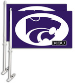 Kansas State Wildcats  Car Flag w/Wall Bracket Set Of 2