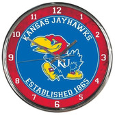 Kansas Jayhawks Round Chrome Wall Clock