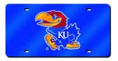 Kansas Jayhawks Laser Cut Navy License Plate
