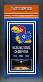 Kansas Jayhawks Framed Championship Banner
