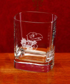 Kansas Jayhawks Deep Etched Square Double Old Fashion Glass