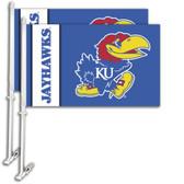 Kansas Jayhawks Car Flag w/Wall Bracket Set Of 2