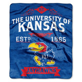 "Kansas Jayhawks 50""x60"" Royal Plush Raschel Throw Blanket -  Label Design"