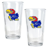 Kansas Jayhawks 2pc Pint Ale Glass Set