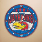 "Kansas Jayhawks 12"" Art Glass Clock"