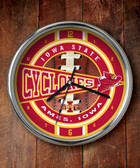 Iowa State Cyclones Chrome Clock