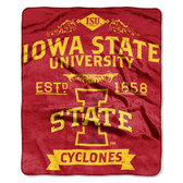 "Iowa State Cyclones 50""x60"" Royal Plush Raschel Throw Blanket -  Label Design"