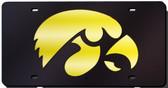 Iowa Hawkeyes Black Laser Cut License Plate