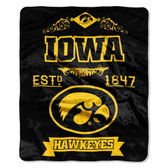 "Iowa Hawkeyes 50""x60"" Royal Plush Raschel Throw Blanket -  Label Design"