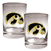 Iowa Hawkeyes 2pc Rocks Glass Set