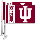 Indiana Hoosiers Car Flag w/Wall Bracket Set Of 2