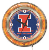 Illinois Fighting Illini Neon Clock