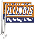 Illinois Fighting Illini Car Flag w/Wall Bracket Set Of 2