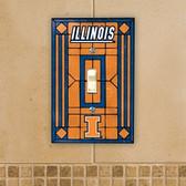 Illinois Fighting Illini Art Glass Switch Cover
