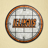 "Illinois Fighting Illini 12"" Art Glass Clock"