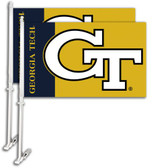 Georgia Tech Yellow Jackets Car Flag w/Wall Bracket Set Of 2
