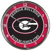 Georgia Bulldogs Round Chrome Wall Clock