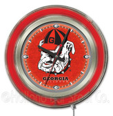 Georgia Bulldogs Bulldog Logo Neon Clock