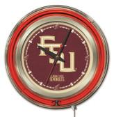 Florida State Seminoles Script Logo  Neon Clock