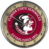 Florida State Seminoles Round Chrome Wall Clock