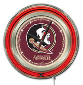 Florida State Seminoles Head Logo Neon Clock