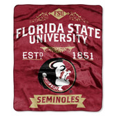 "Florida State Seminoles 50""x60"" Royal Plush Raschel Throw Blanket -  Label Design"