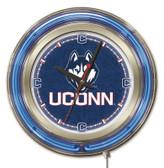 Connecticut Huskies Neon Clock
