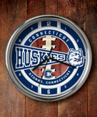 Connecticut Huskies Chrome Clock