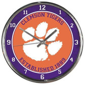 Clemson Tigers Round Chrome Wall Clock