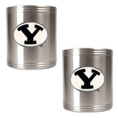 Brigham Young Cougars 2pc Stainless Steel Can Holder Set