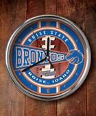 Boise State Broncos Chrome Clock