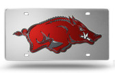 Arkansas Razorbacks Silver Laser Cut License Plate