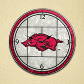 "Arkansas Razorbacks 12"" Art Glass Clock"
