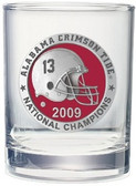 Alabama Crimson Tide 2009 BCS National Champions Rocks Glass