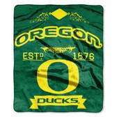 "Oregon Ducks 50""x60"" Royal Plush Raschel Throw Blanket -  Label Design"