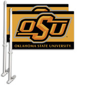 Oklahoma State Cowboys Car Flag w/Wall Bracket Set Of 2