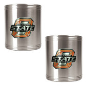 Oklahoma State Cowboys 2pc Stainless Steel Can Holder Set
