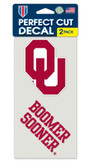 Oklahoma Sooners Set of 2 Die Cut Decals