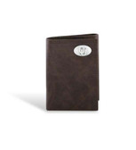 Oklahoma Sooners Leather Wrinkle Brown Trifold Wallet